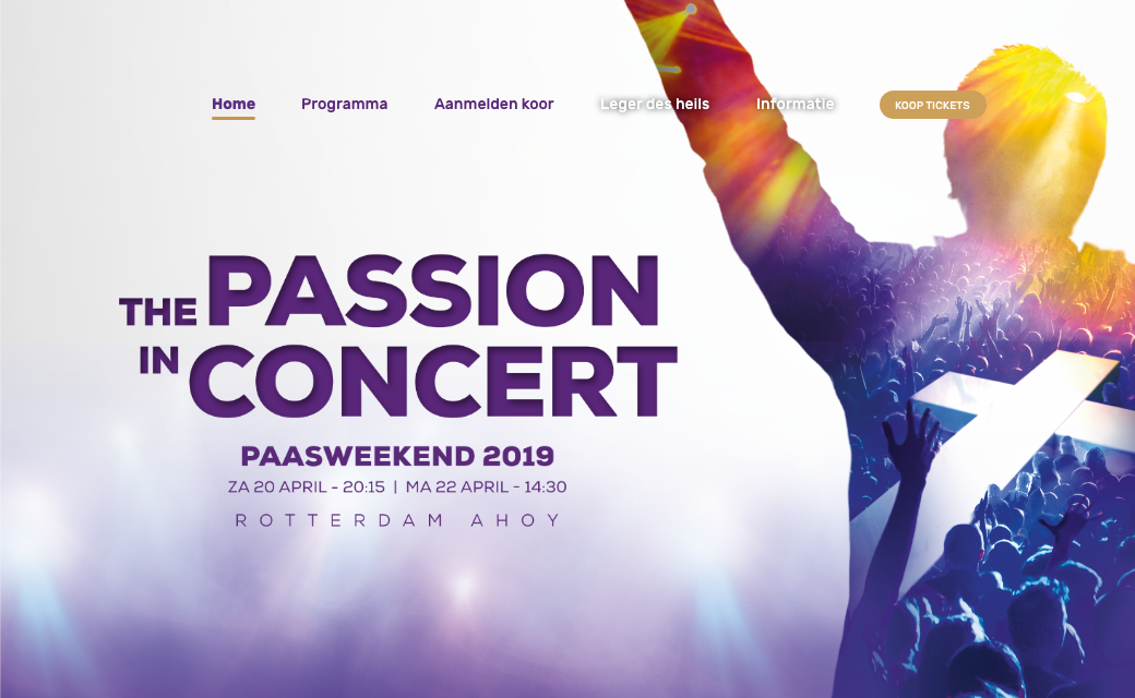 Website voorbeeld: The Passion in Concert