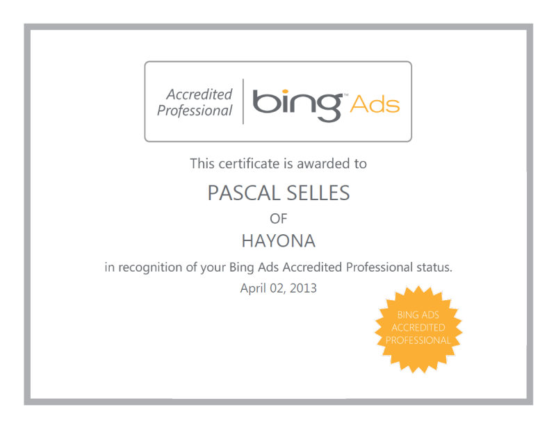 Bing certificaat hayona