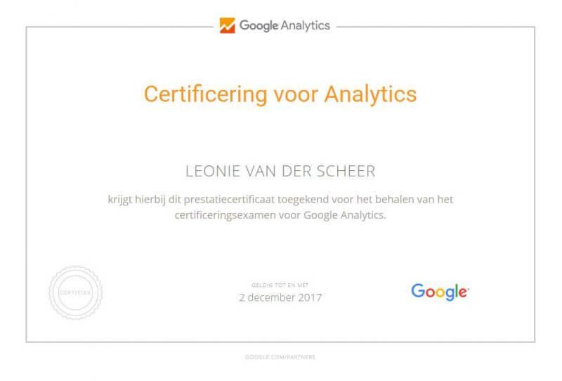 google-analytics-certificering-leonie-vd-scheer
