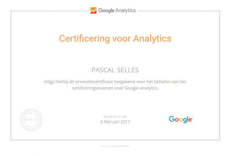 google-analytics-certificering-pascal-selles