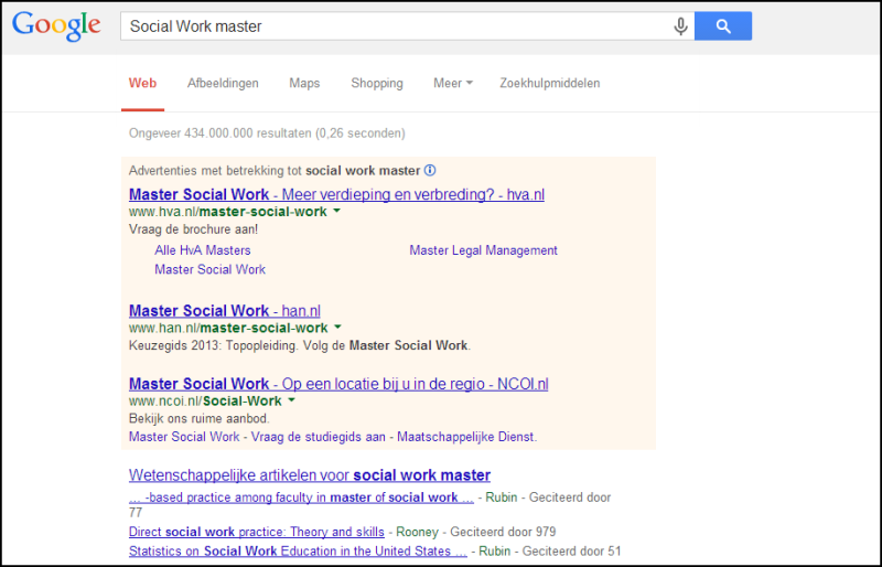 AdWords advertentie Master Social Work