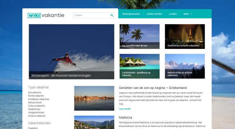 Website van Wiki Vakantie