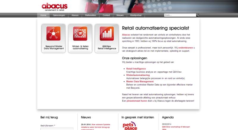 Homepage van Abacus