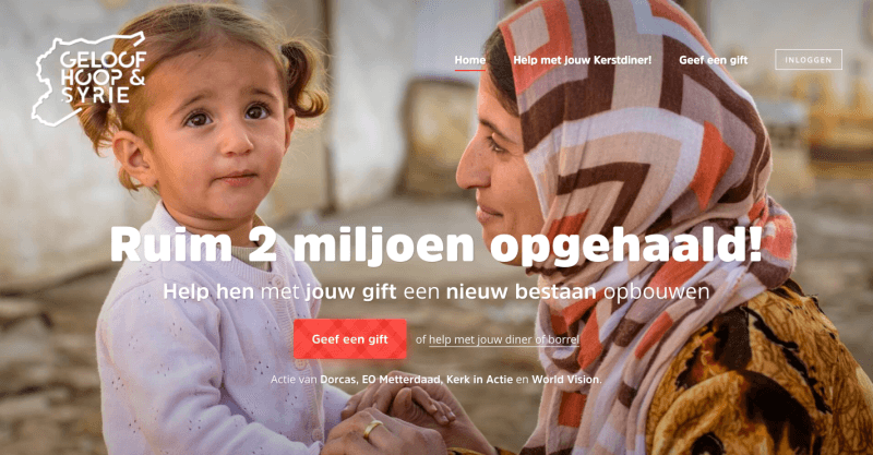 Syrië campagne website voorbeeld